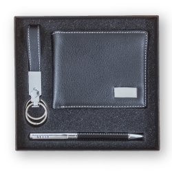 Gift Set Leather Wallet with Key Chain and Pen
