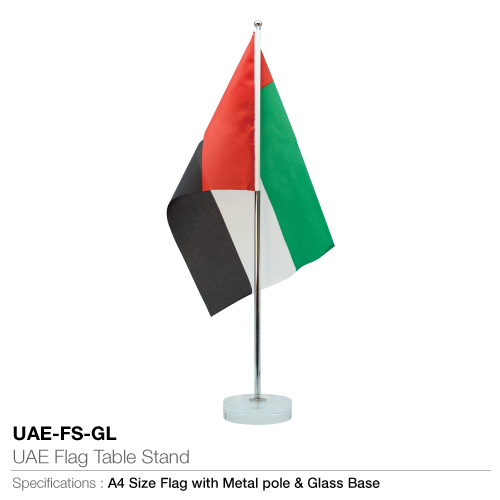 UAE Flag with Metal Pole and Glass UAE-FS-GL