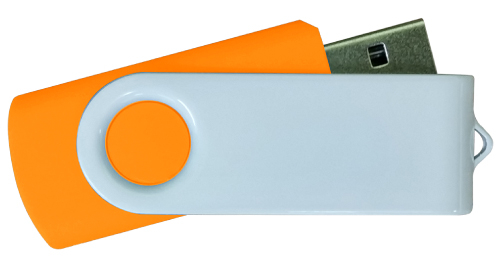 4GB White Metal with Orange Plastic USB