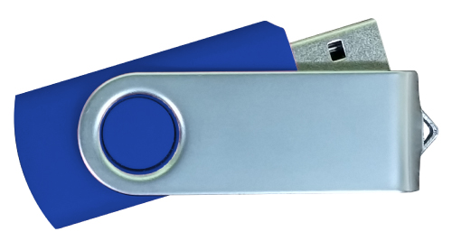 Matt Silver Swivel USB 4GB - Dark Blue