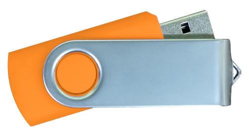 Matt Silver Swivel USB 4GB - Orange