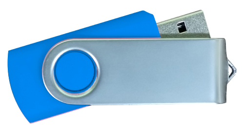 Matt Silver Swivel USB 4GB - Royal Blue