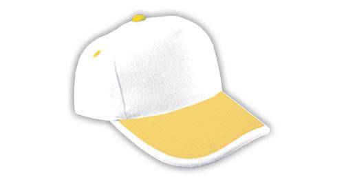Cotton Caps, White & Yellow Color - 308