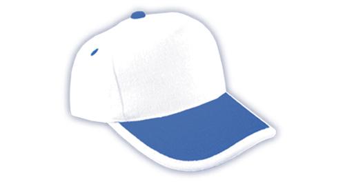 Cotton Caps White and Royal Blue Color - 309