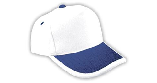 Cotton Caps, White & Dark Blue Color - 323